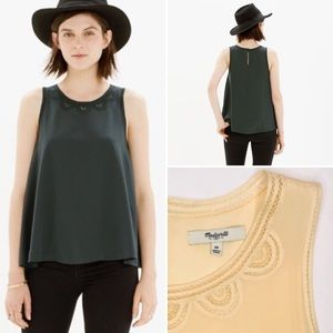 🌵 Madewell loose fit scalloped stitch top size 10